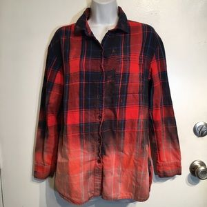 Old Navy Bleach Dipped Plaid Button Up Shirt